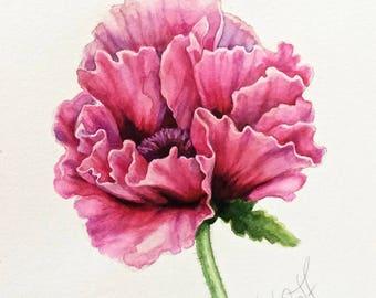 Original poppy flower watercolor, still life, ,botanical art, gift, wall decor