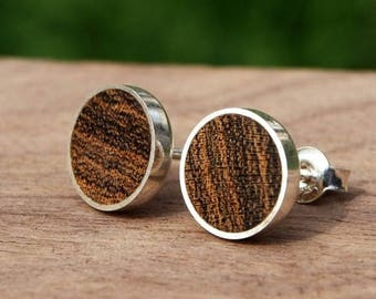 Wooden/silver earrings from Bocote