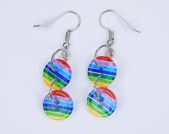 Earrings Rainbow Earrings with colorful stripes on silver-colored earrings Pendants Jewelry Gay Pride