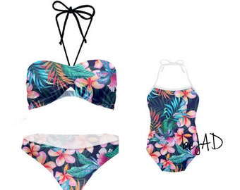Duo swimsuits mommy and me - matching swimwear- mother daughter assorted swimsuit -Model: colorful  flowers, tropical, flowery, floral
