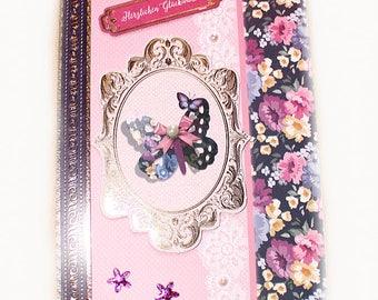 Birthday Card handmade Vintage Greeting Card Flower Design Pearls Butterfly Card with Envelope german saying ,,Herzlichen Glückwunsch,, Gift
