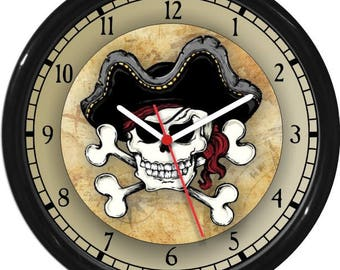 Pirate Captain Skull and Crossbones Personalized Wall Clock Children, Kids & Teenagers / Boy Decor