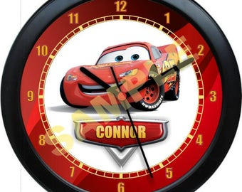 "Lightning McQueen ""Cars"" Personalized Children/Nursery Wall Clock"