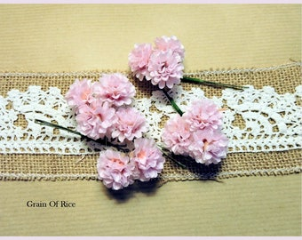 Pink flower (12 small) eyelet fabric