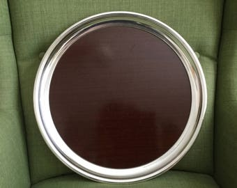 Large RoundTray, Silver Plated and Formica Crescent Faux Mahogany Bar Tray