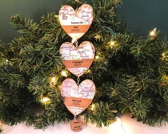 Met Engaged Married Ornament, Love Story Map Ornament, Map Heart Ornament, Personalized Wedding Ornament, Unique Wedding Ornament,