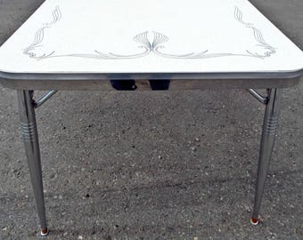 Large Long White And Gold Fleck 50s Formica Chrome Metal Mid Century Dining Table W Fold