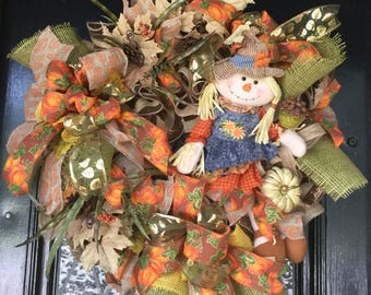 Fall Wreath, Autumn Wreath, Fall Door Wreath, Farmhouse Wreath, Front Door Wreath, Deco Mesh Wreath, Harvest Wreath, Wreath for Fall, Wreath