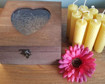 Small Hand Rolled, 9 x 100% Pure, Natural, Beeswax, Candles, presented in a Wooden, Heart, Box, hand stained, perfect for Mother's Day