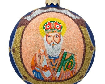 "4"" St Nicholas with the Bible on Blue Glass Ball Christmas Ornament"