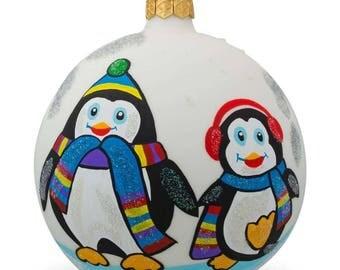 "4"" Two Penguins Glass Ball Christmas Ornament"