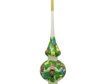 "11"" Nutcracker Ornament White Glass Christmas Tree Topper"