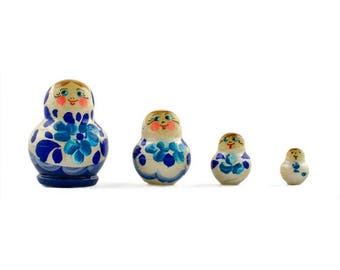 """1.75"""" Set of 4 Blue and White Dress Miniature Wooden Russian Nesting Dolls"""