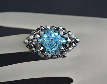 Swarovski crystal ring light chrome 2x - aquamarine ab2x - marquise style
