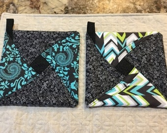 Potholders, trivets quilted kitchen decor, lime green and turquoise