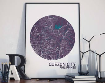 Quezon City, Philippines City Map Print