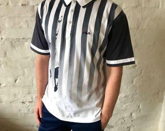 Vintage FILA / Short Sleeve Tennis / Polo Shirt /T-Shirt / Polo / Shirt / White / Navy / Large