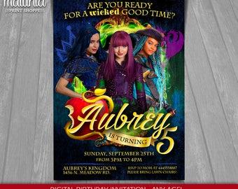 Descendants Invitation - Disney Descendants 2 Invite - Descendants 2 Printed or Printable Invitation - Descendants 2 Mal Evie Uma (DEIN13)