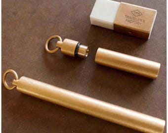 Travelers Factory Brass Eraser and Ink Cartridge Case