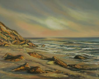 Varkala Seashore in Kerala, India 2004, oil in canvas 120x90 cm