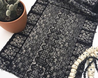 Black and White Batik Fabric, Boho Style Fabric, Asian Hill Tribe, Completely hand crafted