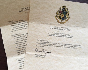 Hogwarts School of Witchcraft and Wizardry Acceptance Letter Harry Potter Party Favor Gift, Instant Digital Download