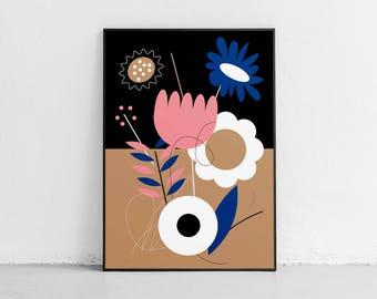 Flowers. Original poster. High quality giclée print. signed by designer.