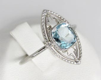 white gold aquamarine ring, art nouveau ring, antique aquamarine ring, aquamarine engagement ring, aquamarine solitaire ring, marquise shape