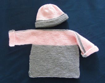Baby pullover sweater and hat set