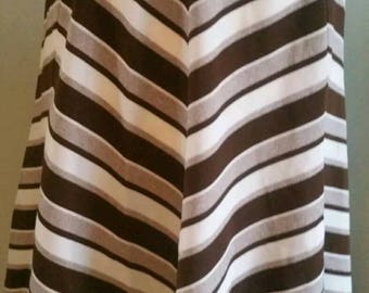 1970s Vintage Retro Brown and Cream Striped A line Skirt Size 10-12