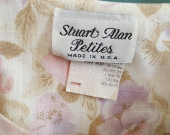 Vintage 1980's Stuart Alan Petites Pansy Floral Print Dress w/ Belt