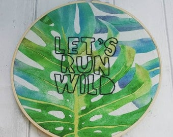 Tropical wild decor, run wild embroidery, modern embroidery, on trend decoration, palm leaves hoop, gift for her, stocking filler, ooak gift