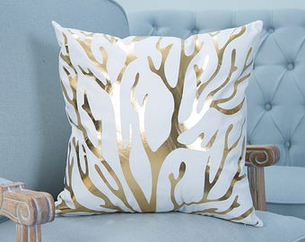 Gold and White Tree Branch Print 18x18 Cushion Cover