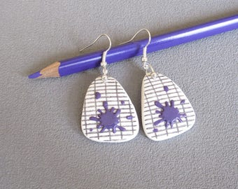 Master gift: master earrings, school notebook, purple patches earrings in polymer clay, thank you teacher, earrings back to school