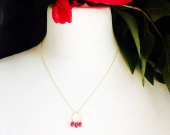 Cherry Red elegant and feminine amid gold plated necklace