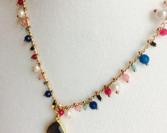 Marvel Labradorite necklace with rivers of gemstones and freshwater pearls