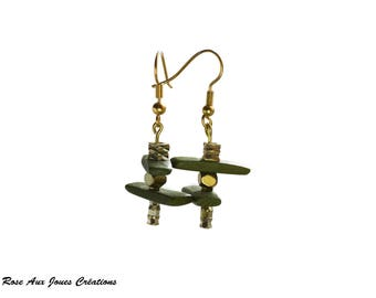 Earrings green wooden bead and brass bead