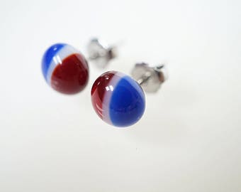 Red white and blue studs, patriotic earrings, fused glass studs, American flag earrings, glass earrings, round studs, USA earrings