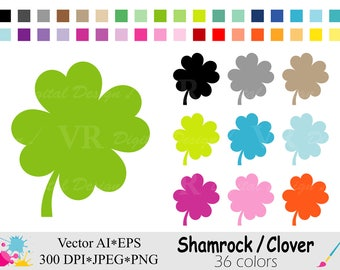Rainbow Shamrock Clip Art, Colorful Clover Clipart, St Patricks Day Graphics, Planner Stickers Clipart, Digital Download Vector