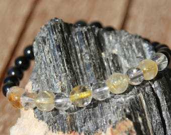 Obsidian, quartz and rutilated quartz bracelet