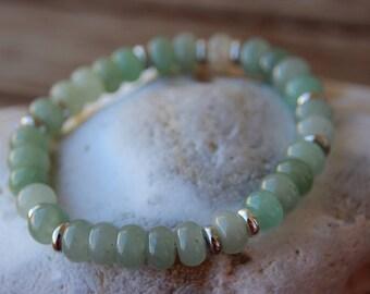 aventurine and silver rings bracelet