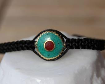 Bracelet with Tibetan connector nylon thread