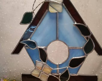 Stained Glass Birdhouse with flowers, home decor, garden decor, spring gifts