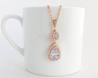 Rose Gold Cubic Zirconia Necklace Rose Gold Teardrop Necklace Rose Gold Bridal Necklace Rose Gold Wedding Necklace Rose Gold Crystal Jewelry