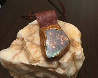 New Age Cuprite & Native Copper Necklace, Stone and Leather Necklace, OOAK Necklace, Leather Necklace, Unique Necklace, Copper Pendant