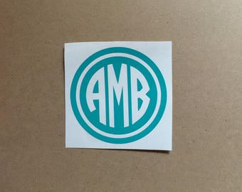 Monogram Decal | Circle Monogram | Cutout Monogram | Monogram Sticker | Laptop Decal | Car Decal | Phone Decal | Personalized Decal