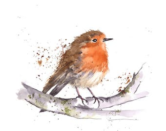 Robin - a quality digital print from an original watercolour by Pauline Merritt