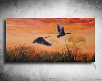 The birds in the sunset / Original Art / Modern art / Romantic art / 47 X 24 inch (120X 60 cm ) / by Noldin