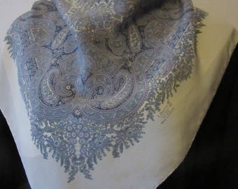 LARGE Vintage LIBERTY of LONDON paisley design silk crepe scarf 89 x 84 cm good condition