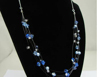 Floating Illusion Necklace in Blue
